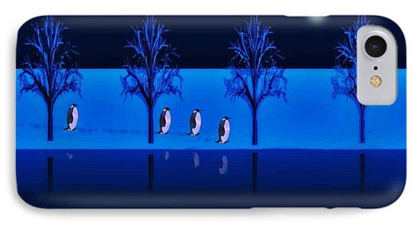 Night Walk Of The Penguins IPhone Case by David Dehner