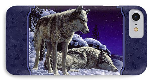 Night Wolves Painting For Pillows IPhone Case by Crista Forest