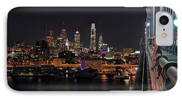 Nighttime Philly From The Ben Franklin IPhone Case by Jennifer Ancker