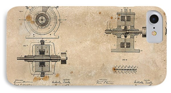 Nikola Tesla's Alternating Current Generator Patent 1891 IPhone Case