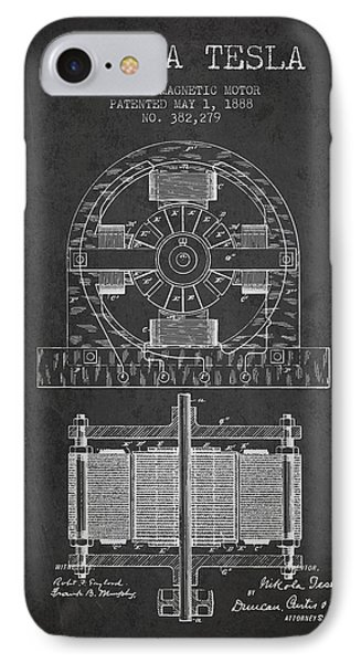 Nikola Tesla Electro Magnetic Motor Patent Drawing From 1888 - D IPhone Case by Aged Pixel