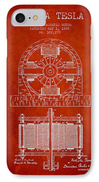 Nikola Tesla Electro Magnetic Motor Patent Drawing From 1888 - R IPhone Case by Aged Pixel