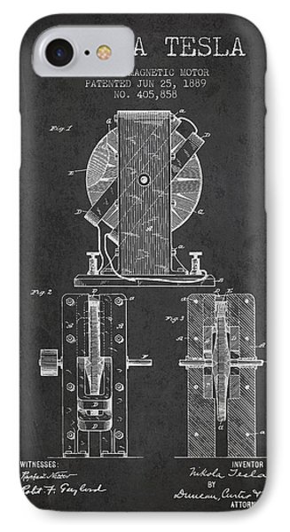 Nikola Tesla Electro Magnetic Motor Patent Drawing From 1889 - D IPhone Case by Aged Pixel