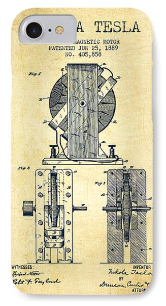 Nikola Tesla Electro Magnetic Motor Patent Drawing From 1889 - V IPhone Case by Aged Pixel