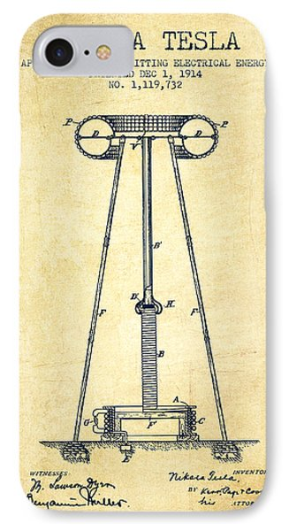 Nikola Tesla Energy Apparatus Patent Drawing From 1914 - Vintage IPhone Case by Aged Pixel