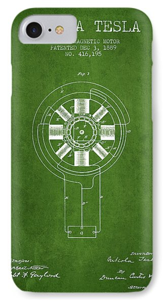 Nikola Tesla Patent Drawing From 1889 - Green IPhone Case by Aged Pixel