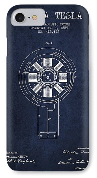 Nikola Tesla Patent Drawing From 1889 - Navy Blue IPhone Case by Aged Pixel