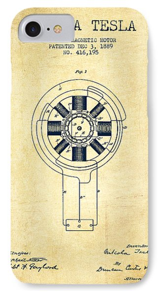 Nikola Tesla Patent Drawing From 1889 - Vintage IPhone Case by Aged Pixel