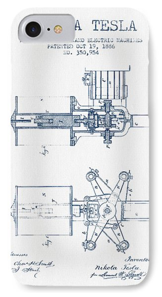 Nikola Tesla Regulator Patent Drawing From 1886- Blue Ink IPhone Case by Aged Pixel