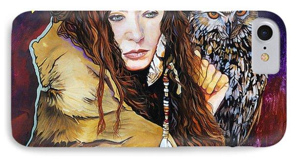 Nine Stars Woman / Owl Medicine IPhone Case by J W Baker