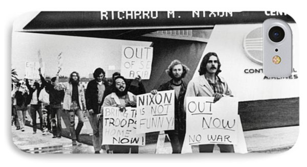 Nixon Protest In Anaheim IPhone Case by Underwood Archives