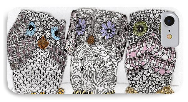 No Evil Owls Phone Case by Paula Dickerhoff