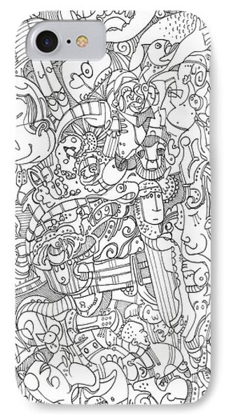 IPhone Case featuring the drawing No Spiders Here by Michael Ciccotello