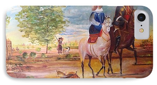 IPhone Case featuring the painting Nobel  Knight And Lady by Egidio Graziani