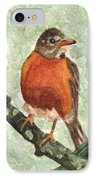 IPhone Case featuring the painting North American Robin by Angela Davies