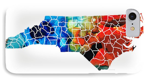 North Carolina - Colorful Wall Map By Sharon Cummings IPhone 7 Case by Sharon Cummings