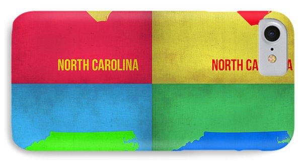 North Carolina Pop Art Map 1 IPhone Case by Naxart Studio