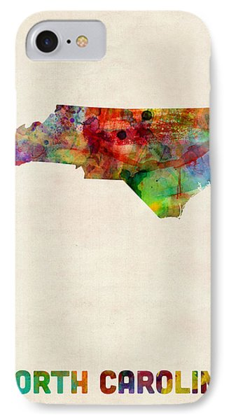 North Carolina Watercolor Map IPhone Case by Michael Tompsett
