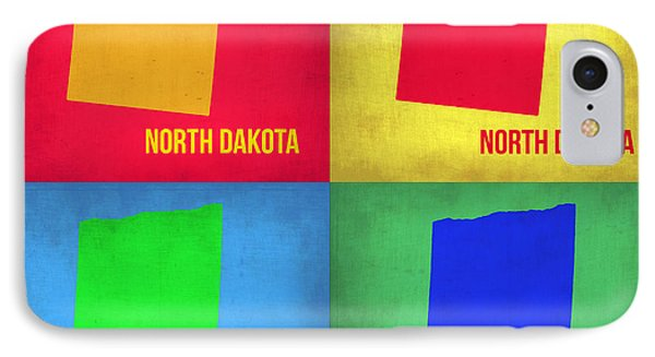 North Dakota Pop Art Map 1 IPhone Case by Naxart Studio