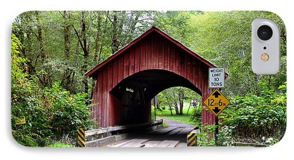 North Fork Yachats Covered Bridge IPhone Case by Ansel Price