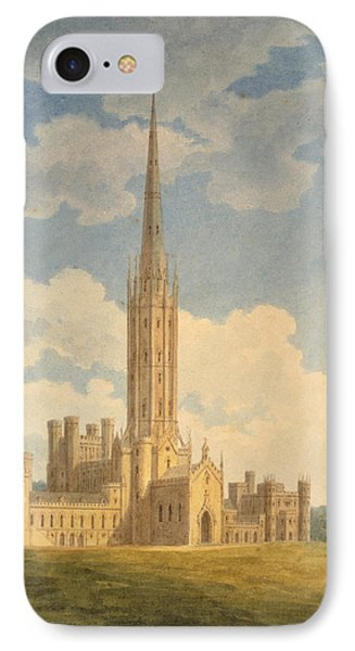North-west View Of Fonthill Abbey IPhone Case by Charles Wild