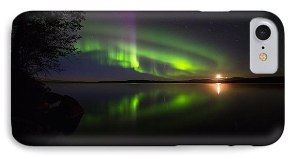 Northern Lights Over Lake IPhone Case