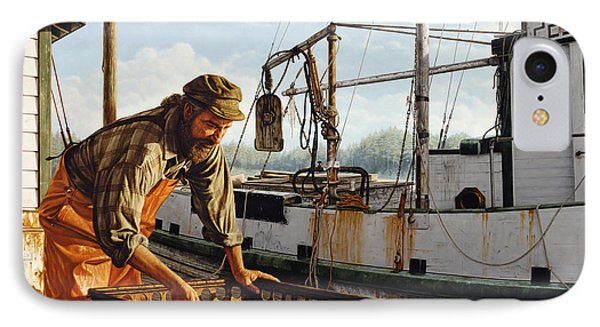 IPhone Case featuring the painting Northwest Fisherman by Ron Crabb