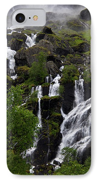 Norway, Flam Lush Waterfall In Flam IPhone Case
