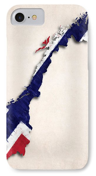 Norway Map Art With Flag Design IPhone Case by World Art Prints And Designs