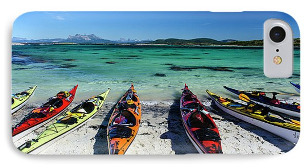 Norway Sea Kayaks On A Coral-sand Beach IPhone Case by Fredrik Norrsell