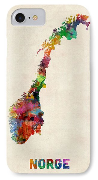 Norway Watercolor Map IPhone Case