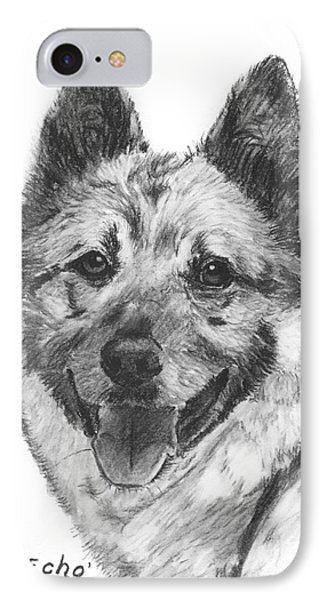 Norwegian Elkhound Sketch Phone Case by Kate Sumners