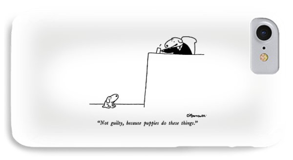 Not Guilty, Because Puppies Do These Things IPhone Case by Charles Barsotti