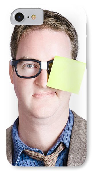 Notice Board Man With Blank Paper Message IPhone Case by Jorgo Photography - Wall Art Gallery