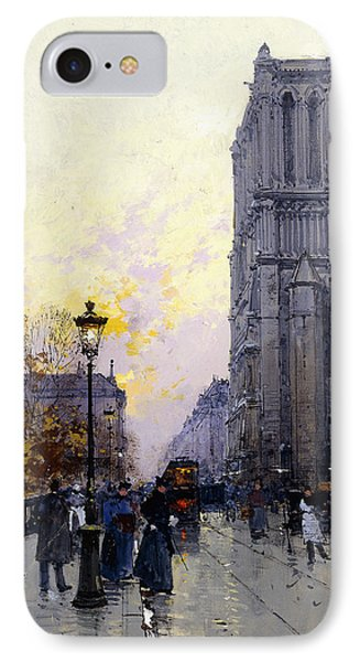 Notre Dame De Paris IPhone Case by Eugene Galien-Laloue
