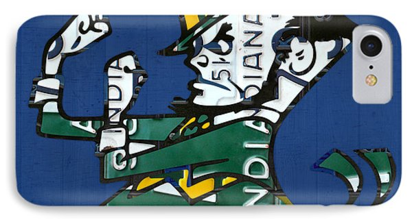 Notre Dame Fighting Irish Leprechaun Vintage Indiana License Plate Art  IPhone Case by Design Turnpike