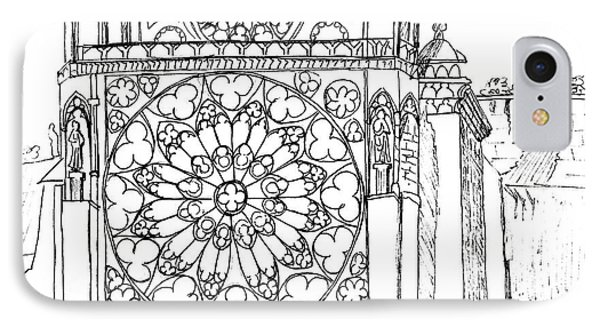 IPhone Case featuring the drawing Notre Dame Sketch by Mary Bedy