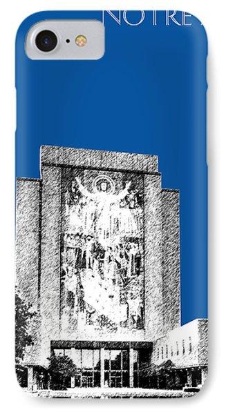 Notre Dame University Skyline Hesburgh Library - Royal Blue Phone Case by DB Artist