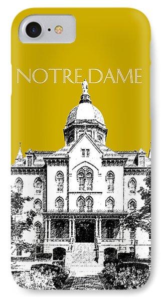 Notre Dame University Skyline Main Building - Gold IPhone Case by DB Artist