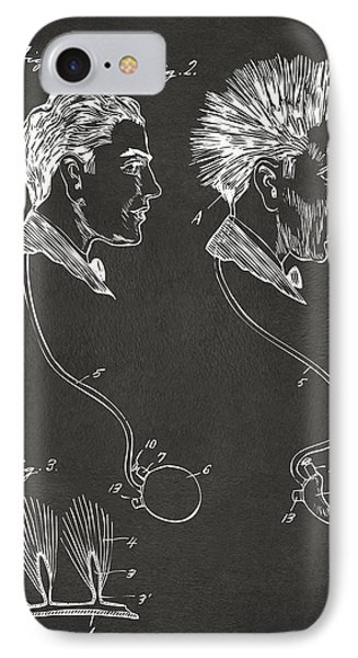 Novelty Wig Patent Artwork Gray IPhone Case by Nikki Marie Smith