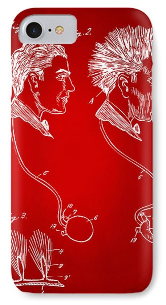 Novelty Wig Patent Artwork Red IPhone Case by Nikki Marie Smith