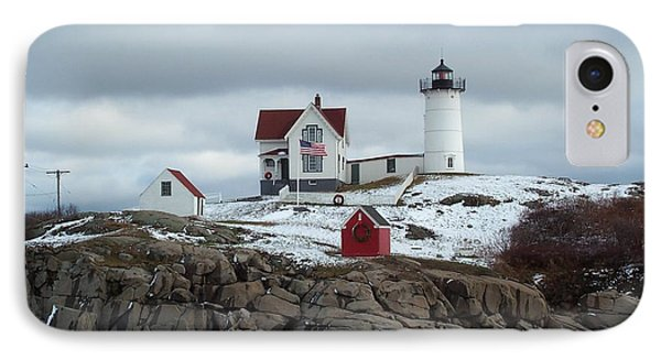 IPhone Case featuring the photograph Nubble Light In December by Barbara McDevitt
