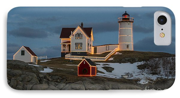 Nubble Lighthouse At Christmas IPhone Case by Steven Ralser