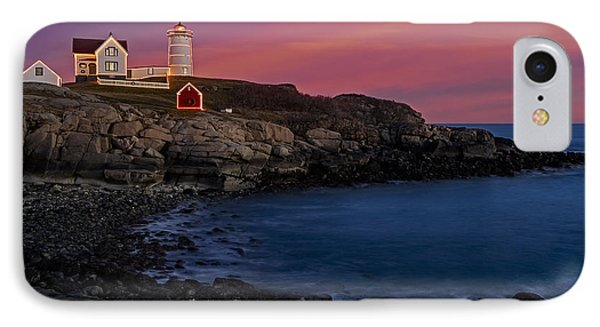 Nubble Lighthouse At Sunset Phone Case by Susan Candelario