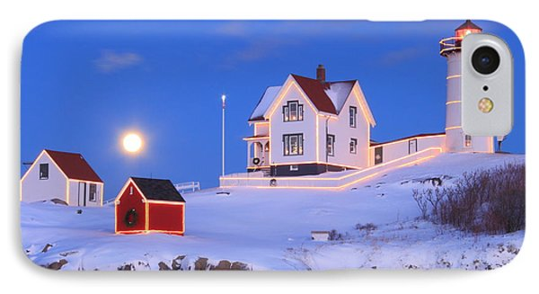 Nubble Lighthouse Full Moon And Holiday Lights IPhone Case