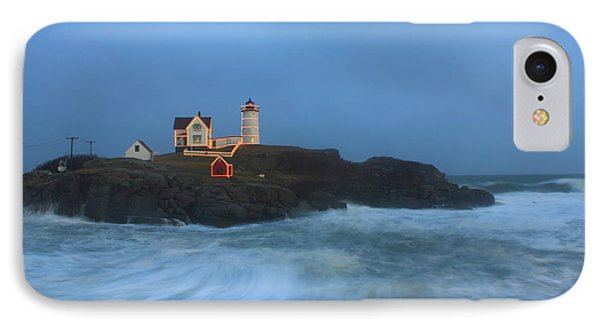 Nubble Lighthouse High Surf And Holiday Lights IPhone Case