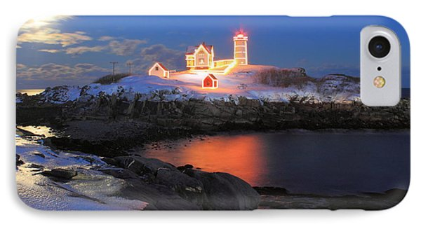 Nubble Lighthouse Holiday Lights And Winter Moon IPhone Case by John Burk