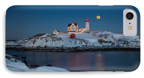 Nubble Lighthouse In Winter IPhone Case by Betty Wiley