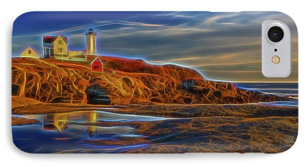 Nubble Lighthouse Neon Glow IPhone Case by Susan Candelario