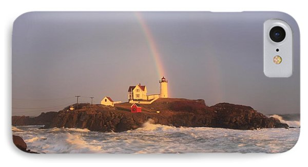 Nubble Lighthouse Rainbow And High Surf IPhone Case by John Burk
